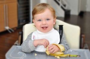 a baby eating a banana at his feeding table wearing a Bibby bib